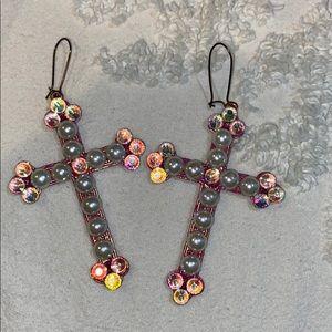 Pink cross earrings